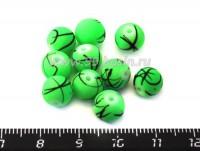 Бусина стеклянная круглая 8 мм Граффити Зеленая 10 шт/уп 012166 - 99 бусин