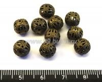 Бусина металлическая  Ажурная 8 мм винтажная бронза 10 шт/упак 012181 - 99 бусин