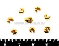 Крышечки кримпов 3 мм цвет золото 20 штук/упаковка 012631 - 99 бусин