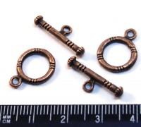 Застёжка - Тогл Средний с насечками, цвет  старая медь 16*12, 20*7 мм, 2 набора/упак 013302 - 99 бусин