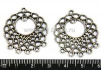 Коннектор №78 круглый 7 петель 34*28 мм цвет старое серебро 1 штука 014147 - 99 бусин