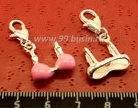Подвеска Бюстгалтер 3D 16*13*6,5 мм, розовая эмаль, с карабином, 1 штука 014807 - 99 бусин