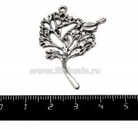 Подвеска Дерево с птичкой 42*32 мм цвет старое серебро  1 штука 01519 - 99 бусин