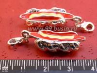 Подвеска Хот дог с карабином, цветная  эмаль, светлое серебро 1 штука 015228 - 99 бусин