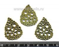 Коннектор Капля узор из колечек 28*20 мм, цвет бронза,  3 шт/упак 015412 - 99 бусин