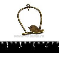 Подвеска-коннектор Птичка на витой качельке 35*25 мм, цвет бронза 1 штука 015678 - 99 бусин