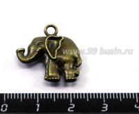Подвеска Слон кокетливый 20*20 мм, двусторонняя, цвет бронза 2 штуки/упаковка 015793 - 99 бусин
