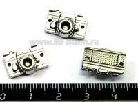 Подвеска - коннектор Фотоаппарат  16*11 мм цвет старое серебро 2 штуки/упаковка 015891 - 99 бусин