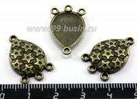 Коннектор Звездочки 23*15 мм, 4 петли, цвет Бронза 3 шт/упак 015898 - 99 бусин