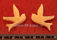 Кабошон акриловый Птица 25*23 мм светло-оранжевый , 1 штука 016126 - 99 бусин