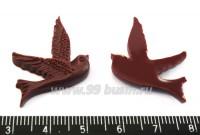 Кабошон акриловый Птица 25*23 мм темно-вишневый, 1 штука 016133 - 99 бусин