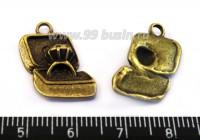 Подвеска кольцо с бриллиантом 20*13 мм, цвет бронза 1 штука 016179 - 99 бусин