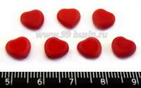 Бусина стеклянная Сердечко 8 мм красное плоское непрозрачное 7 шт/упак ЧЕХИЯ 016191 - 99 бусин
