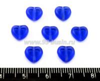 Бусина стеклянная Сердечко 8 мм плоское светлое индиго, прозрачное 7 шт/упак ЧЕХИЯ 016240 - 99 бусин