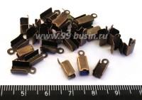 Концевики металлические нахлест 11 мм, цвет медь 30 шт/упак 016253 - 99 бусин