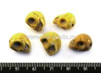 Бусина из синтетического камня Череп Малый Желтый 13*10*12 мм, с кракелюром, 5 шт/упак. 017150 - 99 бусин
