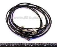 Шнурок капроновый  черный 43 см*1,5 мм 2 шт/упак 017256 - 99 бусин