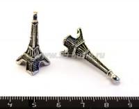 Подвеска Эйфелева башня 3D 30*11 мм, цвет старое серебро, 1 штука 017425 - 99 бусин