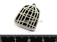 Подвеска клетка пустая 24*18*3 мм, цвет старое серебро 1 штука 017687 - 99 бусин