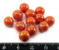 Бусина стеклянная круглая 8 мм оранжевая/золотые блёстки 12 штук/упак 017872 - 99 бусин