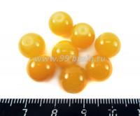 Бусина стеклянная круглая 10 мм Полупрозрачная Желтая 8 шт/упак 018505 - 99 бусин