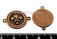 Коннектор Кружок с лилией 2 петли 24*18 мм, цвет медь 1 штука 018579 - 99 бусин