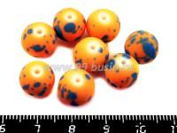Бусина стеклянная круглая 10 мм ПЯТНЫШКИ Оранжевый фон, синие пятна 8 шт/упак 018711 - 99 бусин