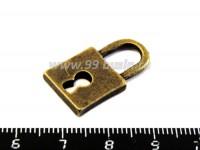 Подвеска Замок амбарный 25*14*2,5 мм, цвет бронза 1штука 018714 - 99 бусин