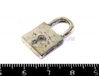 Подвеска Замок амбарный 25*14*2,5 мм, цвет старое серебро 1штука 018716 - 99 бусин