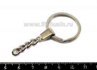 Кольцо для брелка плоское гладкое с цепочкой, диаметр  30 мм, цвет никель, 1 штука 018928 - 99 бусин