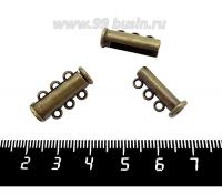 Замок магнитный Столбик 20 мм 3 петли , цвет бронза, 1 штука 019499 - 99 бусин
