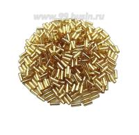 Стеклярус гладкий 4,5 мм Чехия Preciosa светло-золотистый огонек 17020 упаковка 10 грамм 04R17020 - 99 бусин