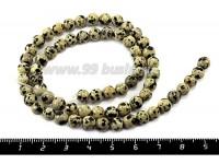 Натуральный Камень ЯШМА круглая 6 мм Перепелиное яйцо, бежево-зеленоватые оттенки/черная, 65 бусин/нить 050109 - 99 бусин