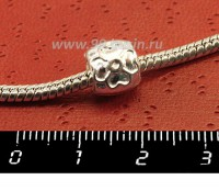 Пандора бусина металлическая Цветочки на бочоночке, цвет серебро, 1 штука 050197 - 99 бусин
