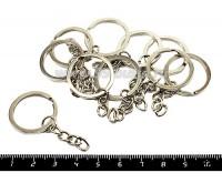 Кольцо для брелка плоское гладкое Малое 25 мм, с ЦЕПОЧКОЙ, никель, 10 шт/уп 050315 - 99 бусин