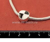 Пандора металлическая с Черно/белой эмалью Графика круг, цвет светлое серебро, 1 штука 051108 - 99 бусин