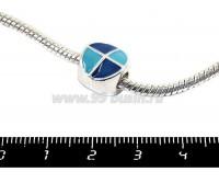 Пандора металлическая с Сине-голубой эмалью Графика круг, цвет светлое серебро, 1 штука 051109 - 99 бусин