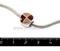 Пандора металлическая с Бежево-коричневой эмалью Графика круг, цвет светлое серебро, 1 штука 051110 - 99 бусин