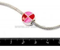 Пандора металлическая с Розово-красной эмалью Графика круг, цвет светлое серебро, 1 штука 051111 - 99 бусин