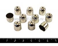"""Колпачок для объемных шнуров """"Стаканчик"""" 10*11 мм, внутр. диаметр 9,5 мм цвет никель,  10 шт/упак 051185 - 99 бусин"""
