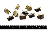 Концевик-книжка для ленты, тесьмы  10*6,5 мм, цвет бронза, 20 штук/упаковка 051255 - 99 бусин