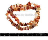 Натуральный камень СЕРДОЛИК крошка 4*5 - 6*10 мм, цвет микс от бесцветного до оранжевого 42 см/нить 051337 - 99 бусин