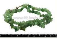 Натуральный камень КВАРЦ Колорированный, крошка 4*6, 5*10 мм, Зеленые тона, полупрозрачный, Короткая нить 42 см нить 051338 - 99 бусин