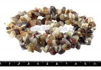 Натуральный Камень АГАТ БРАЗИЛЬСКИЙ крошка 3*4*3 - 7*11*5 мм Натуральные бело-розово-серые тона, 87 см/нить 051342 - 99 бусин