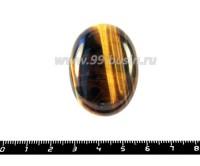 """Кабошон из натурального камня """"Тигровый глаз"""", овальный 40*30*8,5 мм, 1 штука 051375 - 99 бусин"""
