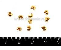 Крышечки кримпов 2,5 мм цвет золото 20 штук/упаковка 051559 - 99 бусин
