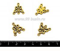 Коннектор  Гармония 19*17 мм, цвет античное золото,  4 петли,  4 шт/упак 051589 - 99 бусин