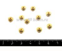 Разделитель Диск узор колечки 6*3 мм, цвет  золото 20 штук/упаковка 051592 - 99 бусин