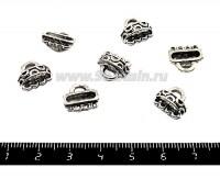 Коннектор Бурятские мотивы 12,5*11*6 мм, на 4 нити, цвет старое серебро 6 шт/упак 051618 - 99 бусин