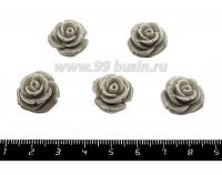 Кабошон акриловый Роза 17*10 мм светло-серый, 5 шт/упак 051631 - 99 бусин